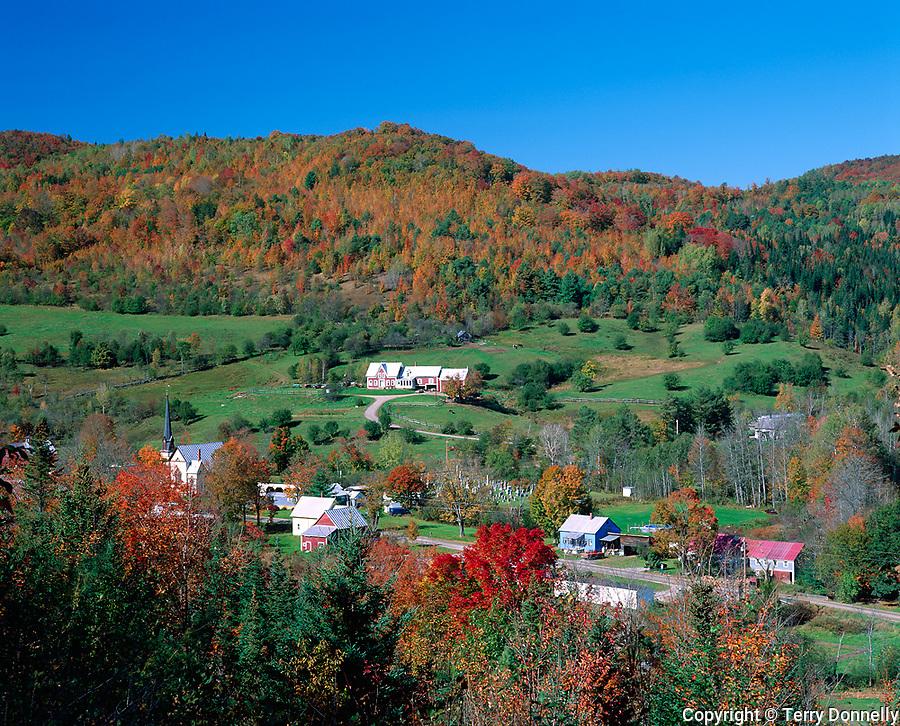 Orange County, VT<br /> Village of East Orange under forested hills in fall color