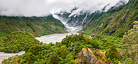 Franz Josef Glacier as seen from Sentinel Rock lookout, Westland Tai Poutini National Park, West Coast, South Westland, UNESCO World Heritage Area, New Zealand, NZ