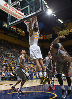 Richard Solomon dunks the ball during a game against Washington State at Haas Pavilion in Berkeley, California on January 5th, 2014. California defeated Washington State 76 - 55