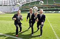 05/08/'10 Giovanni Trapattoni, Senior Irish International Manager, (right) Robert Finnegan, CEO of 3 mobile network, (left) and  John Delaney, CEO, FAI  pictured at the Aviva Stadium this morning for the announcement of a EUR 7.5 million deal over 4 years that mobile phone network, 3 will become the main sponsor of the Irish National Football team...Picture Colin Keegan, Collins, Dublin.