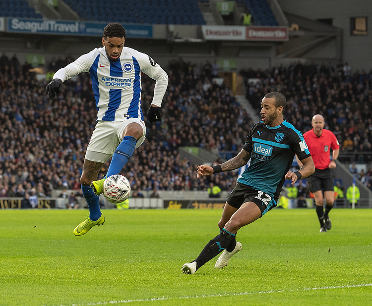 West Bromwich Albion's Tyrone Mears (right) battles with Brighton & Hove Albion's Jurgen Locadia (left) <br /> <br /> Photographer David Horton/CameraSport<br /> <br /> Emirates FA Cup Fourth Round - Brighton and Hove Albion v West Bromwich Albion - Saturday 26th January 2019 - The Amex Stadium - Brighton<br />  <br /> World Copyright © 2019 CameraSport. All rights reserved. 43 Linden Ave. Countesthorpe. Leicester. England. LE8 5PG - Tel: +44 (0) 116 277 4147 - admin@camerasport.com - www.camerasport.com