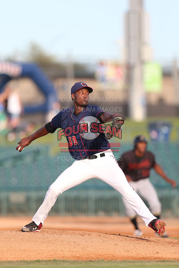 David Paulino (30) of the Lancaster JetHawks pitches during a game against the Bakersfield Blaze at The Hanger on August 5, 2015 in Lancaster, California. Bakersfield defeated Lancaster, 12-5. (Larry Goren/Four Seam Images)