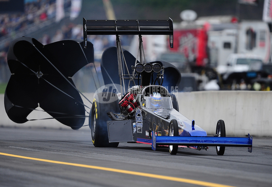 Oct. 1, 2011; Mohnton, PA, USA: NHRA top fuel dragster driver Pat Dakin during qualifying for the Auto Plus Nationals at Maple Grove Raceway. Mandatory Credit: Mark J. Rebilas-
