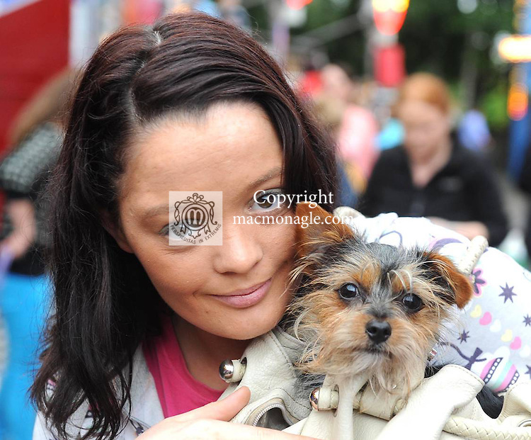Michelle O'Brien with her dog Poppet  at the Birds Bazaar Carnival Dog Show. Picture: Eamonn Keogh ( MacMonagle, Killarney)