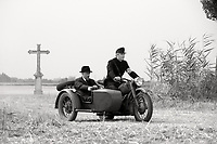 1945 (2017)<br /> Town clerk Istv&aacute;n Szentes (P&eacute;ter Rudolf) rides into town with Officer J&oacute;zsef Iharos (S&aacute;ndor Terhes).<br /> *Filmstill - Editorial Use Only*<br /> CAP/FB<br /> Image supplied by Capital Pictures