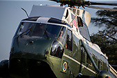 Marine One lands with United States President Donald J. Trump, First Lady Melania Trump and son Barron on the south lawn of the White House following a stay in Bedminster, New Jersey in Washington, D.C. on August 18, 2019.<br /> Credit: Tasos Katopodis / Pool via CNP