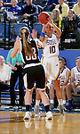 BROOKINGS, SD - JANUARY 7:  Kerri Young #10 from South Dakota State shoots a three pointer over Remy Davenport #33 from the University of Nebraska Omaha during their game Saturday afternoon at Frost Arena in Brookings. (Dave Eggen/Inertia)