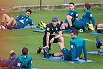 05.01.2019, Trainingsgelaende Randburg Football Club, Johannesburg, RSA, TL Werder Bremen Johannesburg Tag 03<br /> <br /> im Bild / picture shows <br /> <br /> Dehnuebungen am Morgen vor dem Training in Sueddafrika <br /> <br /> Günther / Guenther Stoxreiter (Athletik-Trainer Werder Bremen)<br /> Martin Harnik (Werder Bremen #09)<br /> <br /> <br /> Foto © nordphoto / Kokenge