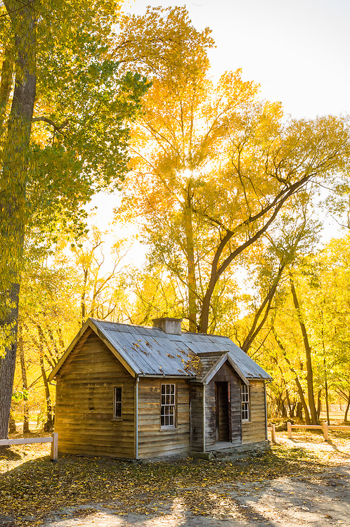 Autumn trees surround an historic cottage in Arrowtown, Central Otago, South Island, New Zealand