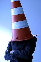 Belo Horizonte_MG, Brasil...Homem com um cone de transito na cabeca...A man with the traffic cone on the head...Foto: BRUNO MAGALHAES /  NITRO