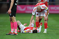 Fleetwood Town's Paddy Madden checks on Wes Burns after a head injury<br /> <br /> Photographer Kevin Barnes/CameraSport<br /> <br /> The EFL Sky Bet League One - Fleetwood Town v Peterborough United - Saturday 15th February 2020 - Highbury Stadium - Fleetwood<br /> <br /> World Copyright © 2020 CameraSport. All rights reserved. 43 Linden Ave. Countesthorpe. Leicester. England. LE8 5PG - Tel: +44 (0) 116 277 4147 - admin@camerasport.com - www.camerasport.com