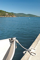 Boat Tied Up at Obstruction Pass County Dock, Orcas Island, San Juan Islands, Washington, US, July 2006