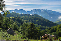 Europe, France, Aquitaine, Pyrénées-Atlantiques, Béarn,  Vallée d'Aspe  depuis la D441 entre Lescuns et Arette  // Europe, France, Aquitaine, Pyrenees Atlantiques, Bearn, Aspe Valley