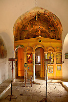 Interior of the Byzantine church of the Metamorphosis, Paliachora,  Aegina, Greek Saronic Islands