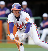 Clemson's Alex Lee tries to bunt during a game between the Mercer Bears and Clemson Tigers at Doug Kingsmore Stadium on Feb. 24, 2008, in Clemson, S.C. Clemson won 10-3. Photo by:  Tom Priddy/Four Seam Images