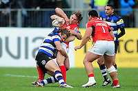 Chris Wyles of Saracens is tackled. Aviva Premiership match, between Bath Rugby and Saracens on December 3, 2016 at the Recreation Ground in Bath, England. Photo by: Patrick Khachfe / Onside Images