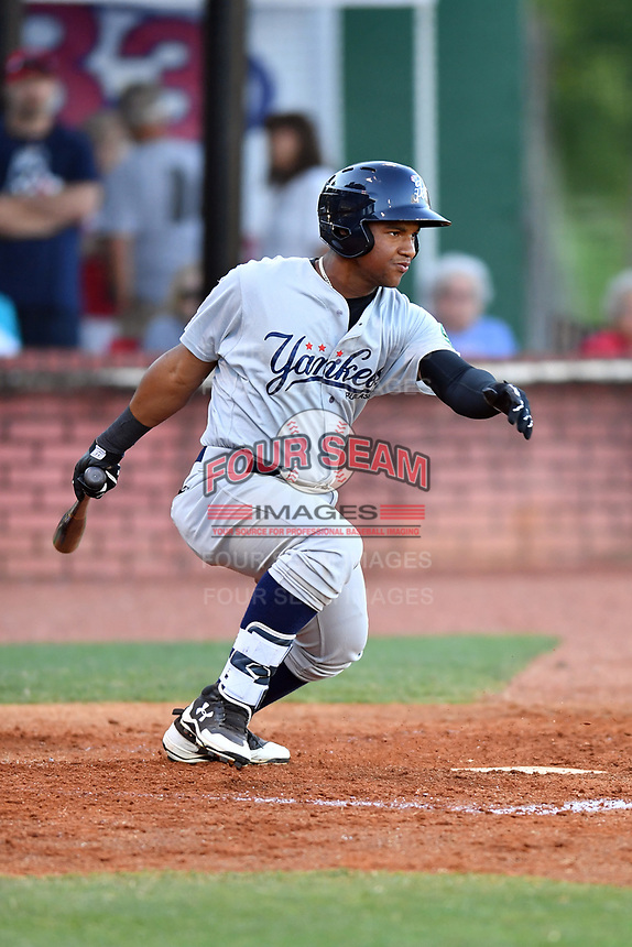 Pulaski Yankees designated hitter Frederick Cuevas (27) swings at a pitch during a game against the Elizabethton Twins at Joe O'Brien Field on June 27, 2016 in Elizabethton, Tennessee. The Yankees defeated the Twins 6-4. (Tony Farlow/Four Seam Images)