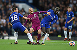 David Silva of Manchester City is challenged by Cesar Azpilicueta of Chelsea and Tiemoue Bakayoko of Chelsea during the premier league match at the Stamford Bridge stadium, London. Picture date 30th September 2017. Picture credit should read: Robin Parker/Sportimage