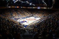 A wide angle shot of sell out crowd watching California vs Arizona basketball game at Haas Pavilion in Berkeley, California on February 1st, 2014.  California Golden Bears defeated Arizona Wildcats, 60-58.