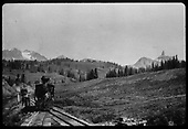 Head-on view of RGS C-16 at Gallagher Spur with Lizard Head Peak in right background.<br /> RGS  Gallagher, CO  ca. 1900