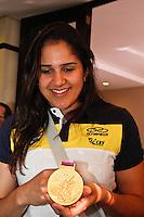 Natalia jogadora da seleção brasileira feminina de vôlei, durante entrevista coletiva nesta SEGUNDA-FEIRA (13)  no Hotel Marriot Guarulhos.FOTO ALE VIANNA/BRAZIL PHOTO PRESS