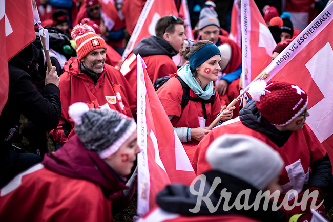 Swiss fans <br /> <br /> Men's U23 race<br /> UCI 2020 Cyclocross World Championships<br /> Dübendorf / Switzerland<br /> <br /> ©kramon