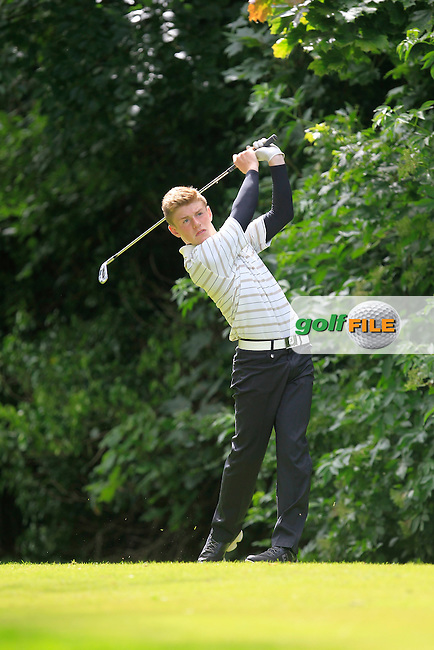 Ryan Thompson (Greenacres) on the 16th tee during Round 1 of the Ulster Youths Championship at Belvoir Golf Club on Tuesday 4th August 2015.<br /> Picture:  Thos Caffrey / www.golffile.ie