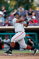 Angel Villalona #29 of the San Jose Giants bats against the Inland Empire 66'ers at San Manuel Stadium on May 21, 2013 in San Bernardino, California. San Jose defeated Inland Empire, 8-0. (Larry Goren/Four Seam Images)