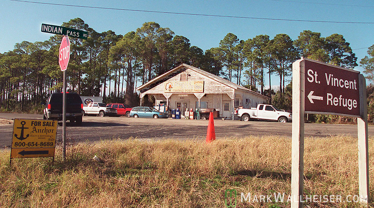 The Indian Pass Trading Post, a popular oyster and beer place in rural Gulf County on C30A and Indian Pass Road near Apalachicola, Florida in the Florida panhandle.