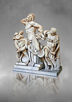 Statue group identified as as the Laocoon described by Pliny as a masterpiece made by the sculptors of Rhodes. The Laocoon depicts a scene from the Trojan War in which Athena and Poseidon sent two great serpants to wrap themselves around Laocoon and his two sons to kill them. Circa 40-30BC, Pope Clement XIV coillection, Vatican Museum Rome, Italy,  grey art background