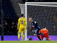19th November 2019; Hampden Park, Glasgow, Scotland; European Championships 2020 Qualifier, Scotland versus Kazakhstan; Steven Naismith of Scotland wheels away to celebrate after scoring Scotlands second goal for 2-1 in the 64th minute - Editorial Use