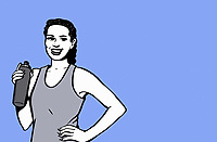 Woman taking break from exercise for drink of water