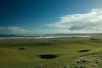 Barns Ness Lighthouse from Dunbar Golf Course on the John Muir Way, East Lothian