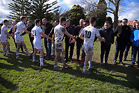 PNBHS players shake hands with the 1987 1st XV old boys after the Super 8 1st XV rugby match between Palmerston North Boys' High School and Rotorua Boys' High School at PNBHS in Palmerston North, New Zealand on Saturday, 29 July 2017. Photo: Dave Lintott / lintottphoto.co.nz