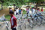 "Children gather near a row of shiny new bicycles at a school in the rural highlands district of A Luoi in central Vietnam. In the past two years, war veteran Mark Oconnor has given away nearly 150 bicycles to poor students in the mostly ethnic minority district so they can get to school easier. ""I just feel like the United States hasn't done enough to help these people since the war,"" said Oconnor, 64, of Sioux Falls, S.D., who served in Vietnam from 1970 to 1971. ""And I just feel like I took more than I gave, so I'm giving back now."" April 8, 2015."