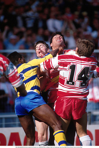 DES DRUMMOND throws a punch at Kevin Iro, WARRINGTON v Wigan, Silk Cut Challenge Cup Final 9005 <br />