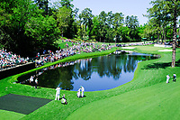 Shane Lowry (IRL) and Danny Willett (ENG) on the 16th tee during Wednesdays preview at the The Masters , Augusta National, Augusta, Georgia, USA. 10/04/2019.<br /> Picture Fran Caffrey / Golffile.ie<br /> <br /> All photo usage must carry mandatory copyright credit (&copy; Golffile | Fran Caffrey)