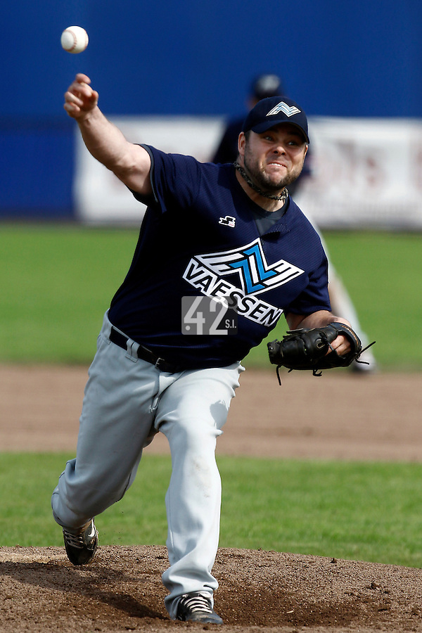 10 September 2011: Eddie Aucoin of Vaessen Pioniers pitches against the Pirates during game 4 of the 2011 Holland Series won 6-2 by L&D Amsterdam Pirates over Vaessen Pioniers, in Amsterdam, Netherlands.