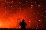 A man is seen in wildfire in Mandín Cualedro, Ourense on August 25, 2013 (c) Pedro ARMESTRE.