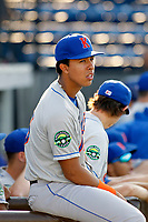 Kingsport Mets infielder Mark Vientos (13) before a game against the Burlington Royals at Burlington Athletic Complex on July 28, 2018 in Burlington, North Carolina. Burlington defeated Kingsport 4-3. (Robert Gurganus/Four Seam Images)