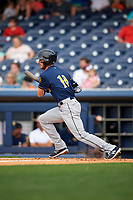 New Orleans Baby Cakes shortstop J.T. Riddle (10) follows through on a swing during a game against the Nashville Sounds on April 30, 2017 at First Tennessee Park in Nashville, Tennessee.  The game was postponed due to inclement weather in the fourth inning.  (Mike Janes/Four Seam Images)
