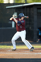 Jacob Baucom (9) of Kannapolis Post 115 at bat against Mooresville Post 66 during an American Legion baseball game at Northwest Cabarrus High School on May 30, 2019 in Concord, North Carolina. Mooresville Post 66 defeated Kannapolis Post 115 4-3. (Brian Westerholt/Four Seam Images)