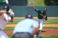 Miami Hurricanes relief pitcher Gregory Veliz (0) delivers a pitch to the plate against the Wake Forest Demon Deacons in Game Nine of the 2017 ACC Baseball Championship at Louisville Slugger Field on May 26, 2017 in Louisville, Kentucky. The Hurricanes defeated the Demon Deacons 5-2. (Brian Westerholt/Four Seam Images)