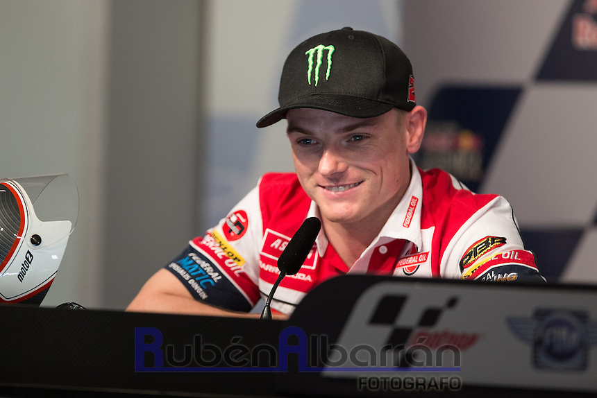 Sam Lowes during qualifying press conference in Motorcycle Championship GP, in Jerez, Spain. April 23, 2016