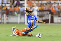 Houston, TX - Saturday July 22, 2017: Janine Van Wyk and Katie Stengel during a regular season National Women's Soccer League (NWSL) match between the Houston Dash and the Boston Breakers at BBVA Compass Stadium.