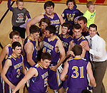 RAPID CITY, S.D.-- MARCH 21, 2015:  Players from Winner celebrate a rally to take the lead against Little Wound as they go to a timeout during their game at the 2015 South Dakota  State A Boys Basketball Tournament at the Don Barnett Arena in Rapid City Saturday. (Photo by Dick Carlson/Inertia)