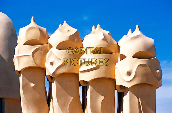 Roof sculptures, Witch scarers, La Pedrera, Casa Mila, Barcelona, Spain.