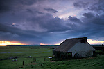 Storm clouds at sunset over open pasture and old barn in field, Sherman Island, Sacramento San Joaquin River Delta, California