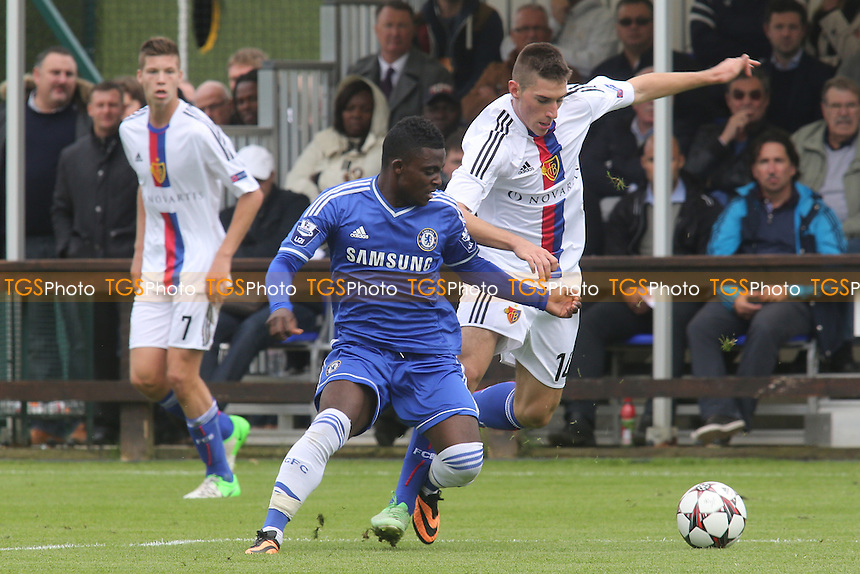 Marko Drakul of FC Basel tries to shake off a challenge from Chelsea's Islam Feruz - Chelsea Under-19 vs FC Basel Under-19 - UEFA Youth League Football at Chelsea FC Cobham Training Ground, Surrey - 18/09/13 - MANDATORY CREDIT: Paul Dennis/TGSPHOTO - Self billing applies where appropriate - 0845 094 6026 - contact@tgsphoto.co.uk - NO UNPAID USE