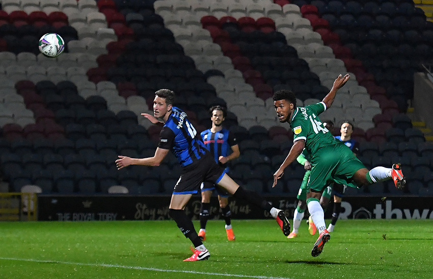 Sheffield Wednesday's Elias Kachunga heads in his team's 1st goal<br /> <br /> Photographer Dave Howarth/CameraSport<br /> <br /> Carabao Cup Second Round Northern Section - Rochdale v Sheffield Wednesday - Tuesday 15th September 2020 - Spotland Stadium - Rochdale<br />  <br /> World Copyright © 2020 CameraSport. All rights reserved. 43 Linden Ave. Countesthorpe. Leicester. England. LE8 5PG - Tel: +44 (0) 116 277 4147 - admin@camerasport.com - www.camerasport.com